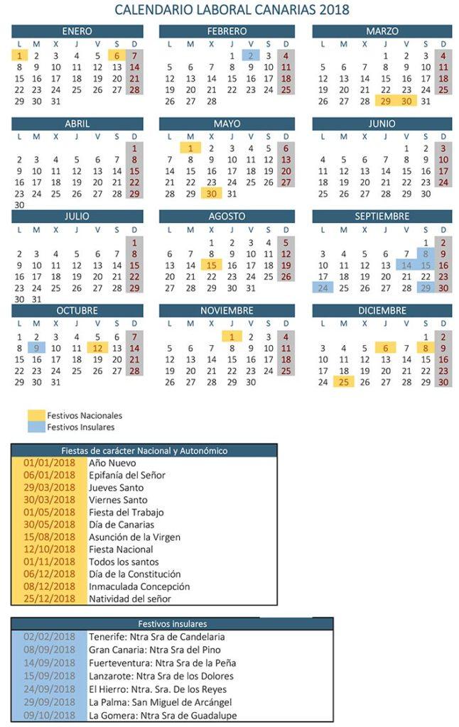 Calendario laboral 2018 Canarias