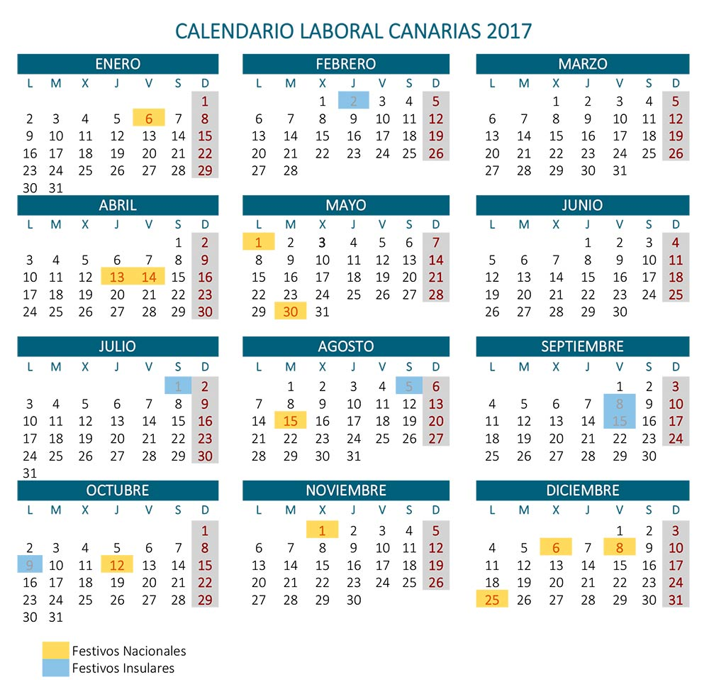 Calendario laboral 2017 Canarias